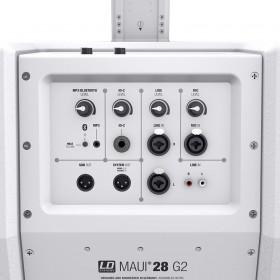 Aansluit paneel, bluetooth, xlr, rca, jack en volume regelaars LD Systems MAUI 28 G2 Compact Kolom PA System in Wit
