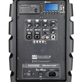 LD Systems ROADBUDDY 6 Portable speaker met Microfoon achterkant aansluitingen bediening zoom