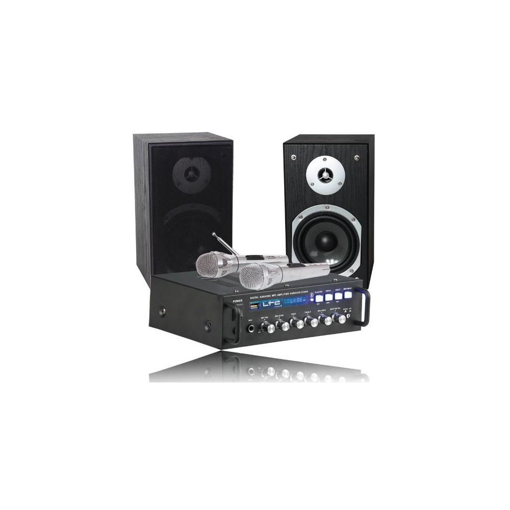 LTC Karaoke-Star4 vc All-In-1 Karaoke set met 2 microfoons, USB en Bluetooth