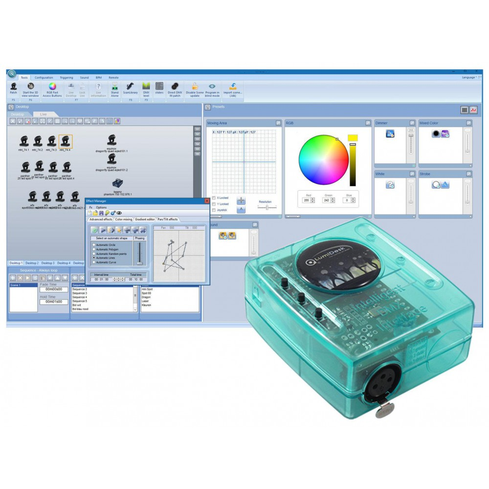 Lumidesk Nano MK2 USB-128 DMX software + interface