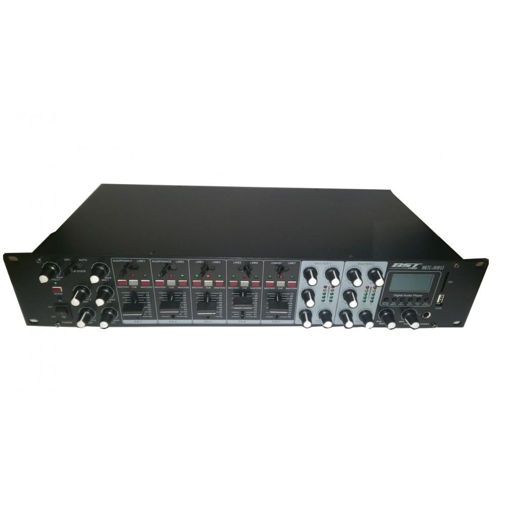 BST PRO MX56U - Mengpaneel met 2 zone met USB MP3 Speler