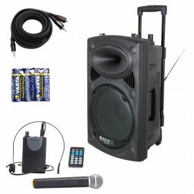 IBIZA Sound PORT15VHF-BT Set 1 met gratis kabel en batterijen voor uw microfoon