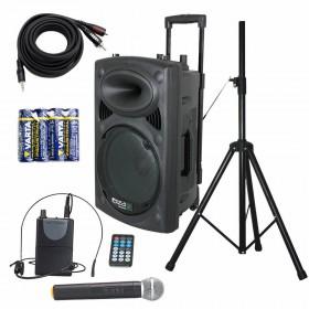 IBIZA Sound PORT15VHF-BT Set 2 - met batterijen en Aux-kabel en statief