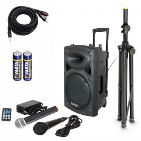 IBIZA Sound PORT8VHF-BT Set 3 - Met batterijen en Aux-kabel en Pro statief