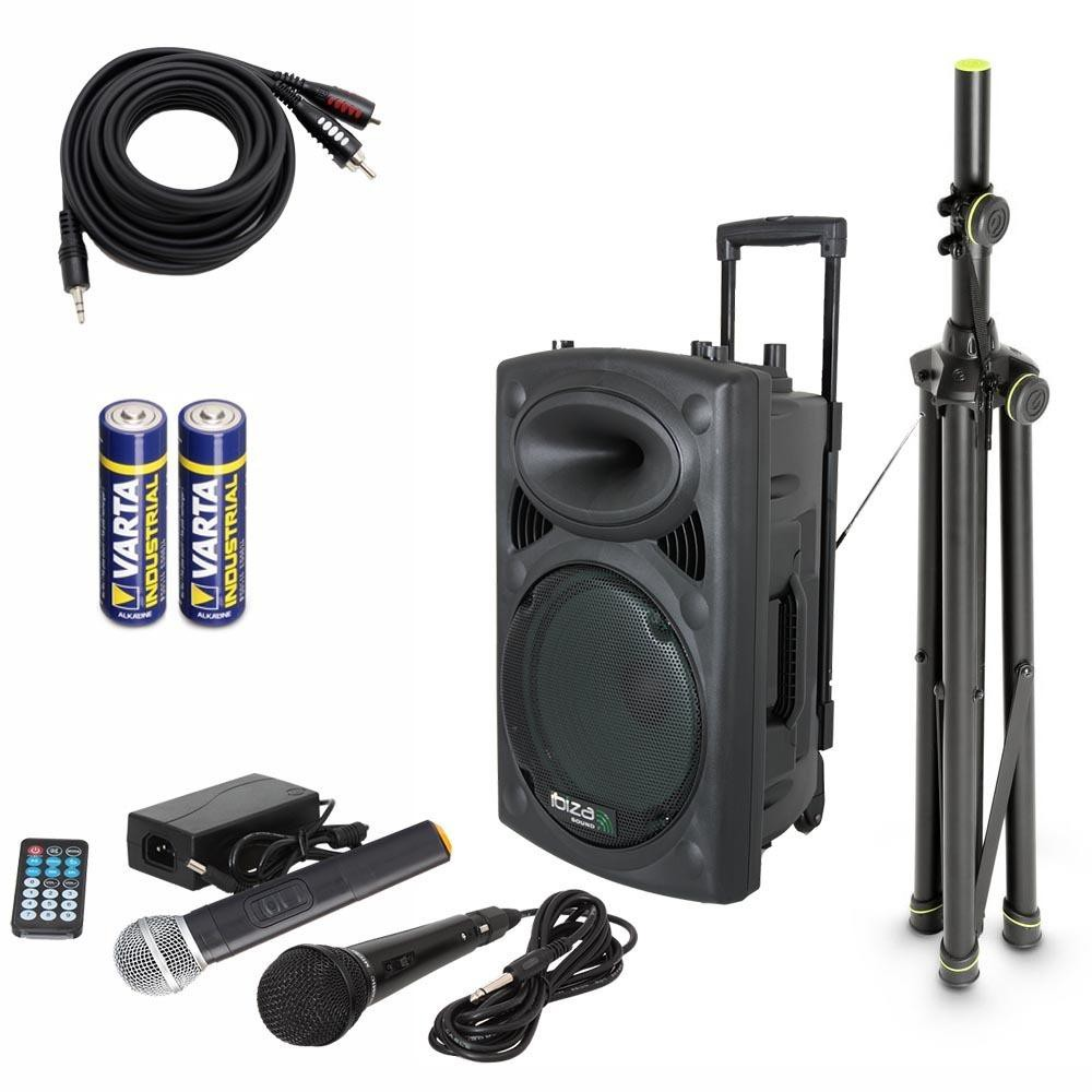 IBIZA Sound PORT8VHF-BT Set 3 - Met batterijen en Aux-kabel en statief incl. gratis hoes