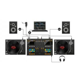 Native Instruments Traktor Kontrol S8 - Digitale DJ USB Midi Controller platenspeler aansluiten en speakers