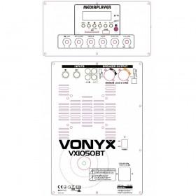 """bediening en aansluitingen - Vonyx VX1050BT - Complete 12"""" 1150W speakerset (Plug & Play)"""