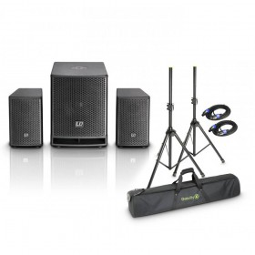 "LD Systems DAVE 10 G3 - 10"" Actief PA Set + professionele statieven en 2x 5 meter speakon"
