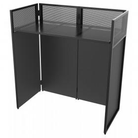 Vonyx DB4 Pro Opvouwbaar DJ Booth Systeem met 4 schermen - achteraanzicht zwart