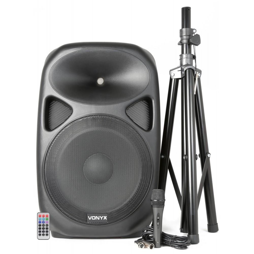 """Vonyx SPS152 Actieve Speaker 15"""" SD/USB/MP3/BT met Standaard"""