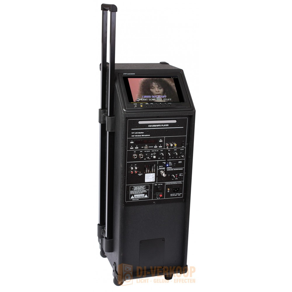 IBIZA Sound PORT9DVD-VHF mobiele muziek installatie met o.a. dvd en TV Scherm achterkant