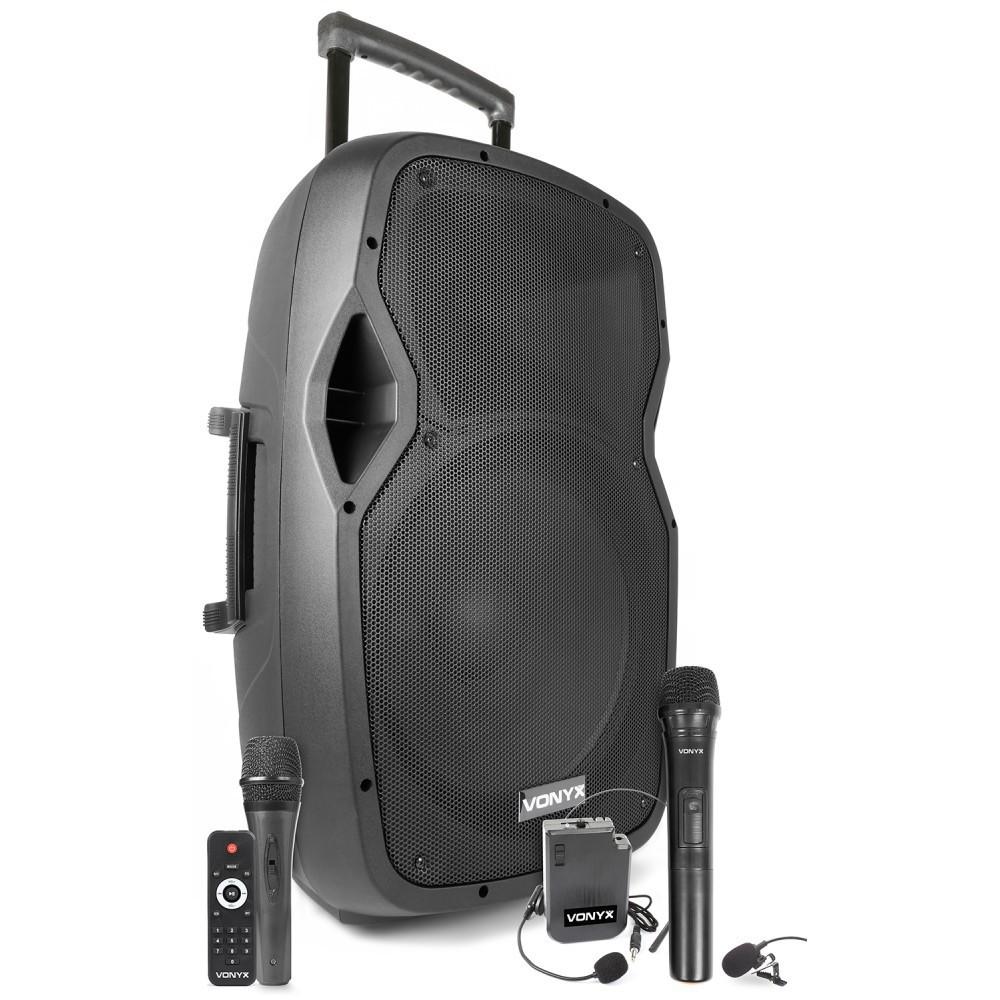 """Vonyx AP1500PA - Mobiele Geluidsinstallatie 15"""" 2 UHF MP3 BT HS"""