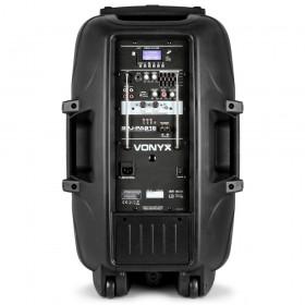 """Vonyx SPJ-PA915 - Mobiele Geluidsset ABS 15"""" USB/SD Speler en 2x VHF mic. (170.080) achterkant."""