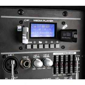 "Vonyx SPJ-PA915 - Mobiele Geluidsset ABS 15"" USB/SD Speler en 2x VHF mic. (170.080) usb mp3 speler en sd kaart"