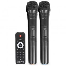 """Vonyx SPJ-PA915 - Mobiele Geluidsset ABS 15"""" USB/SD Speler en 2x VHF mic. (170.080) microfoons en afstandsbediening"""
