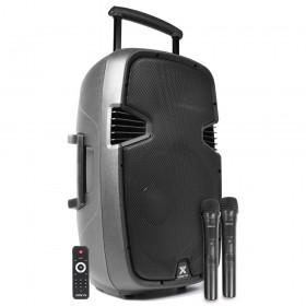 "Vonyx SPJ-PA915 - Mobiele Geluidsset ABS 15"" USB/SD Speler en 2x VHF mic. (170.080)"