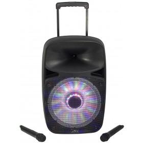 Portable Party Sound Systeem 12 inch 500W met USB - Bluetooth en VHF Mic - voorkant - DJ-Verkoop.nl
