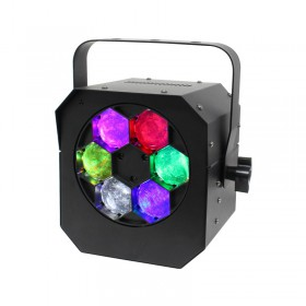 Equinox Hypnos Quad Color Led Projector 6x 15W RGBW leds met DMX - voorkant aan