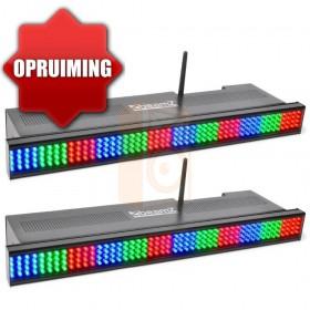 Beamz 2x Wi-bar 192 LED RGB op Batterij en kabel opruiming voorkant