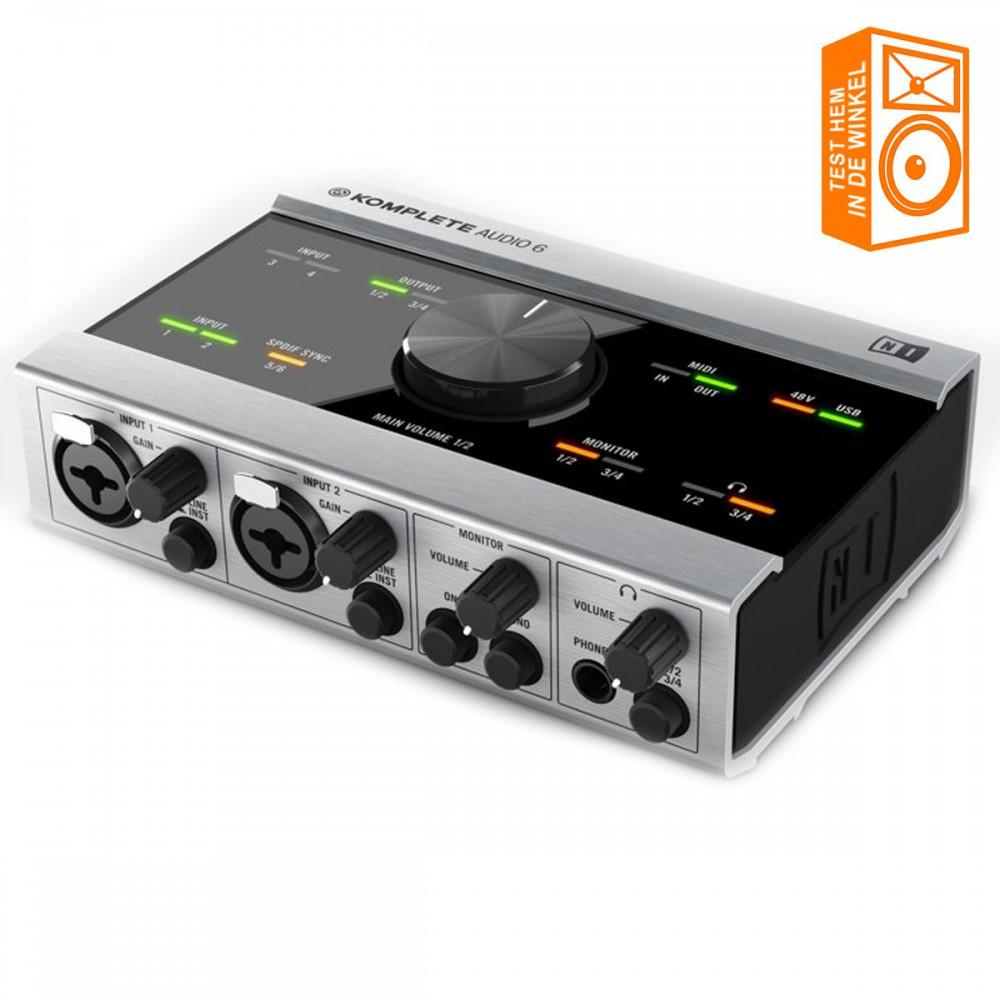 Native Instruments Komplete Audio 6 Geluidskaart + Software voor o.a. opname uit voorraad leverbaar en te proberen in de winkel
