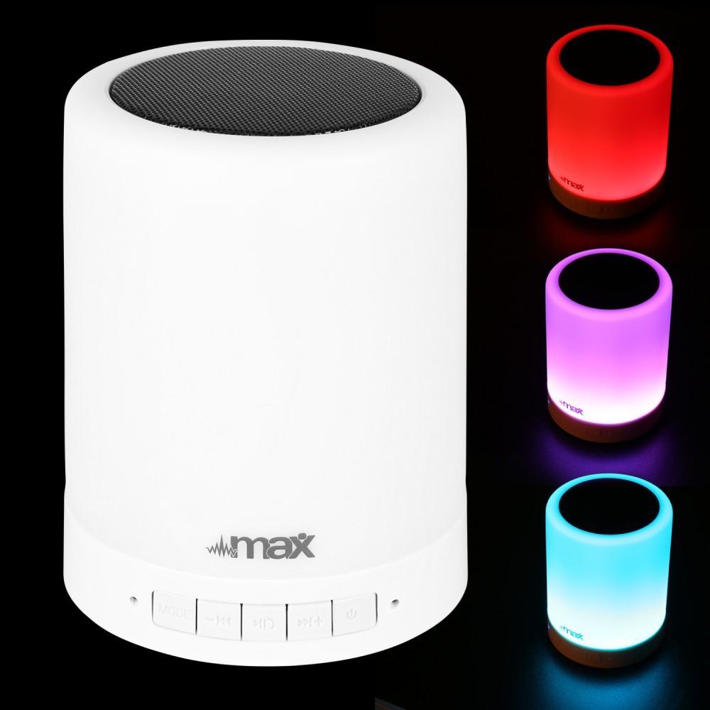 Max MX6 Touch Lamp met Speaker en BT streaming - voor en kleuren
