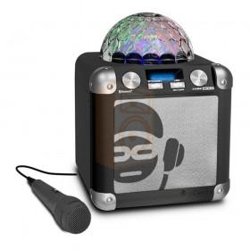 iDance Party Cube BC5-C Bluetooth karaoke systeem met lichtshow Voorkant met microfoon