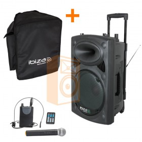 "IBIZA Sound PORT12VHF-BT 12"" Mobiel Pa systeem met USB en Bluetooth + hoes set"