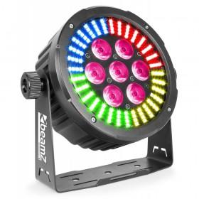 BeamZ Professional BAC502 - 7x 12W 6-in-1 LEDs en 128x SMD RGB LEDs Aluminium Par Voorkant