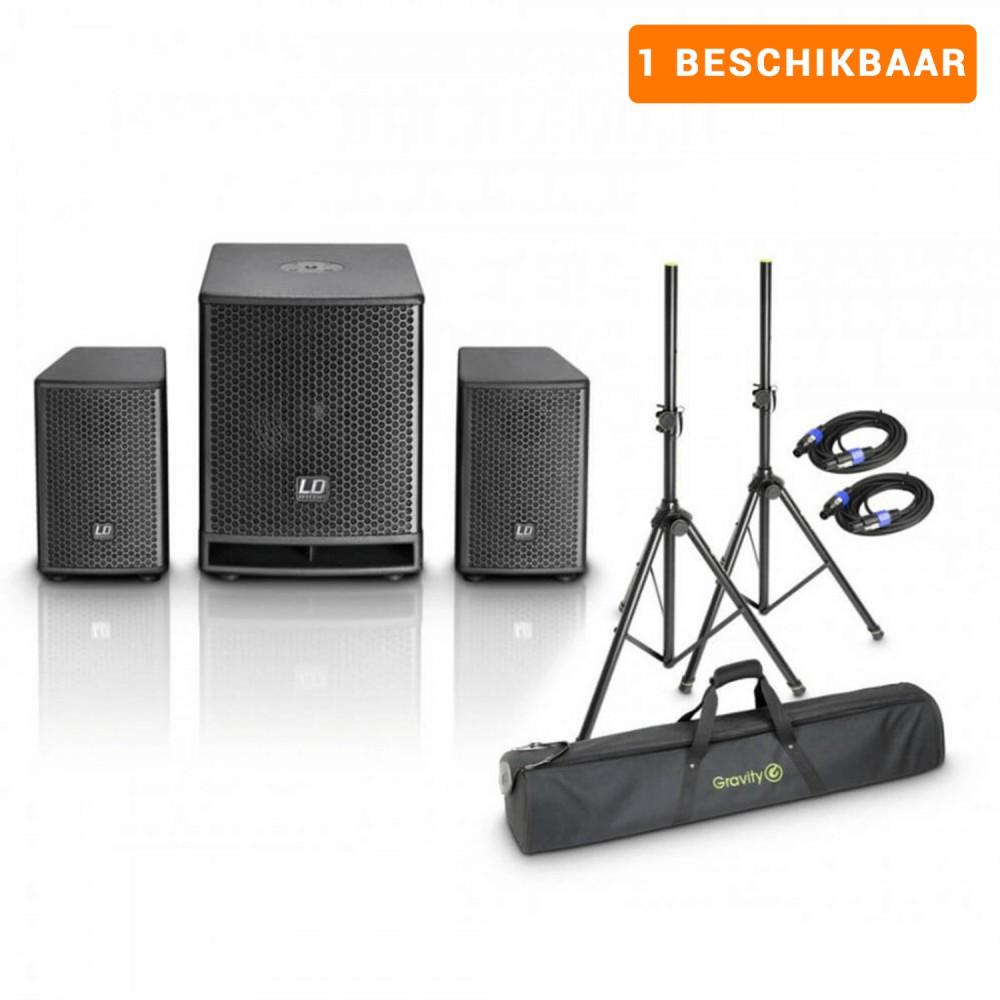 Actieve speakerset 4 - 2.1 Speaker Systeem, incl. statieven voor feesten tot +/- 75 man (verhuur)
