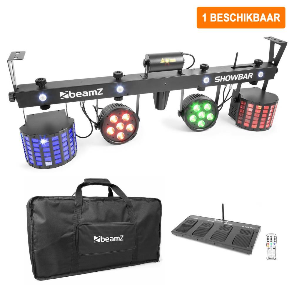 Verhuur ShowBar - 2x PAR 6x 4in1 2xButterfly, Laser R/G DMX IRC 1