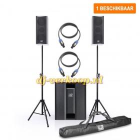 Verhuur - Actieve speakerset 2 - 2.1 Speaker Systeem 800W max. incl. statieven huren