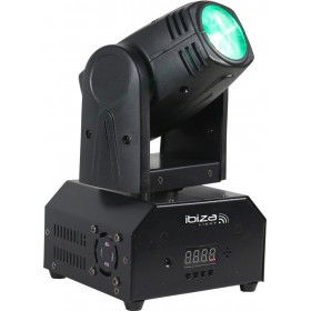 Ibiza Light LMH250-RC - mini moving head 10W 4-1 RGBW cee led dmx +IRC - Voorkant