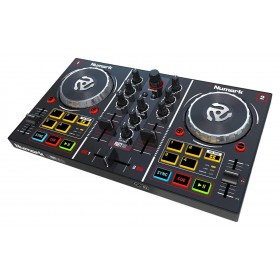 Numark Party Mix - DJ Controller met Built In Light Show bediening schuin aanzicht