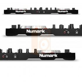Numark Mixtrack Platinum DJ Controller met display achterkant aansluitingen en detail overzicht