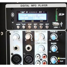 BST PO15A-BT Active abs speaker - bediening aansluitingen achterkant