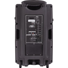 """Ibiza Sound  PORT-TFT12 - Mobiel oplaadbaar karaoke systeem met 15"""" TFT kleurenmonitor - aansluitingen"""