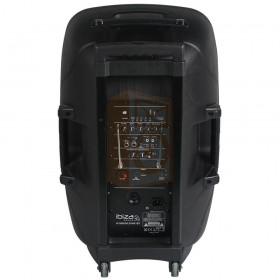 "Ibiza Sound HYBRID12VHF-BT - Stand-alone PA Systeem 12"" met USB/SD/Bluetooth achterkant, aansluitingen"