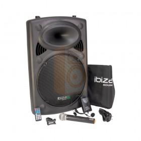 "IBIZA Sound PORT15VHF-BT - 15"" Mobiel Pa systeem met Bluetooth en USB mp3 + gratis hoes pakket compleet"