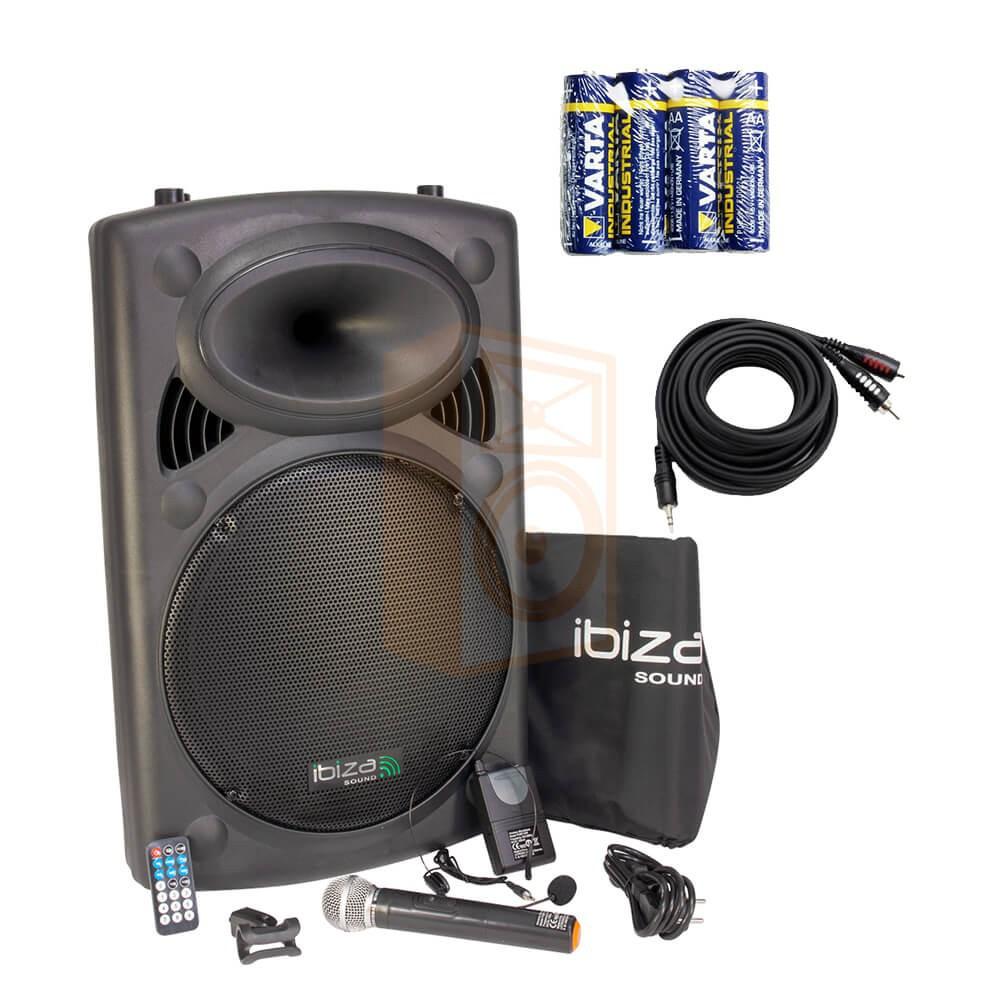 IBIZA Sound PORT15VHF-BT Set 1 met gratis kabel en batterijen voor uw microfoon compleet