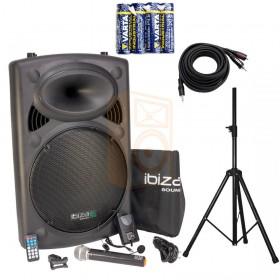 IBIZA Sound PORT15VHF-BT Set 2 - met batterijen en Aux-kabel en statief compleet
