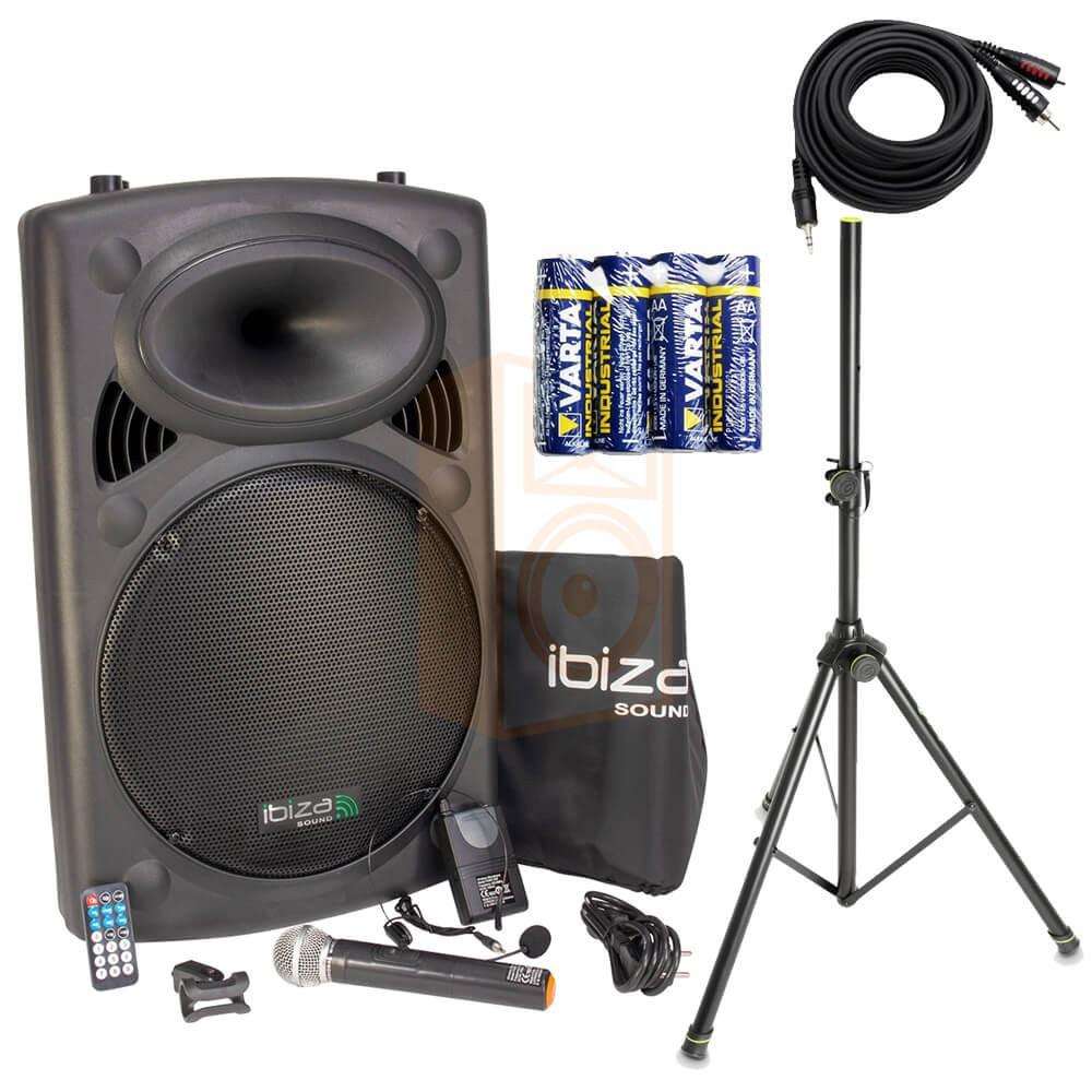 IBIZA Sound PORT15VHF-BT Set 3 - met batterijen en Aux-kabel en pro statief compleet
