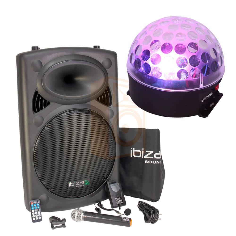 Ibiza Sound PORT15VHF-BT met ASTRO-BAT Licht Effect compleet