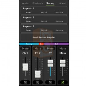 Mackie FreePlay LIVE Draadloze PA Bluetooth Speaker - app overzicht memory geheugen 3 presets