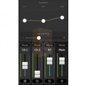 Mackie FreePlay LIVE Draadloze PA Bluetooth Speaker - app overzicht EQ en Reverb per kanaal 2
