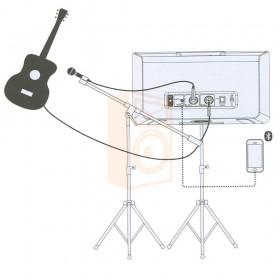 Mackie FreePlay LIVE Draadloze PA Bluetooth Speaker aansluit schema opstelling met 1 microfoon en een gitaar