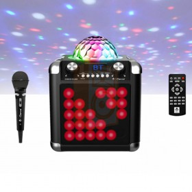 iDance Disco Cube BC100L - Draadloze bluetooth speaker met microfoon disco licht