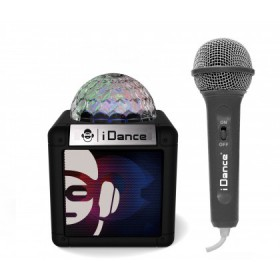 Idance Cube Sing 100 zwart compacte karaoke set - speaker met microfoon