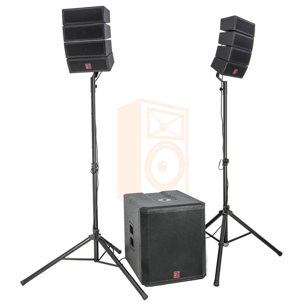 "BST Pro HELIOS2.1 - Actief 2.1 Line Array PA Systeem - complete speaker set met 18"" sub en 8x satelliet"