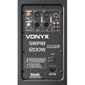 """Vonyx SWP18 18"""" Pro Actieve Subwoofer 1200W - versterker, aansluitingen achterkant"""