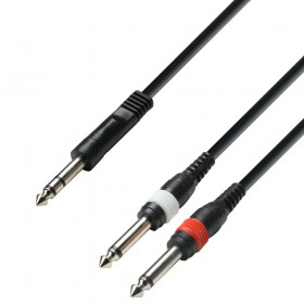 Adam Hall Cables K3 YVPP Serie - Audiokabel 6.3 mm Jack stereo naar 2 x 6.3 mm Jack mono